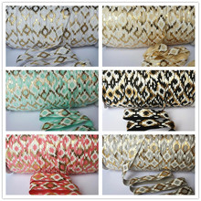 15mm(5/8'') foil and ink printed FOE fold over elastic stretch ribbon DIY hair accessories 50yards/lot  TSNFIFOE50Y
