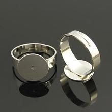 Brass Pad Ring Bases, Lead Free, Cadmium Free and Nickel Free, Adjustable, Platinum Color, about 3~4.5mm wide, 18mm inner