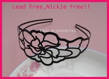 "10PCS 5.3cm 2.1"" Plain black big filigree Peony Flower  Metal Hair Headbands at nickle free and lead free,BARGAIN for BULK"