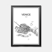 Venice Italy CITY World map poster abstract Coated paper print picture bar cafe pub living room painting 42x30cm