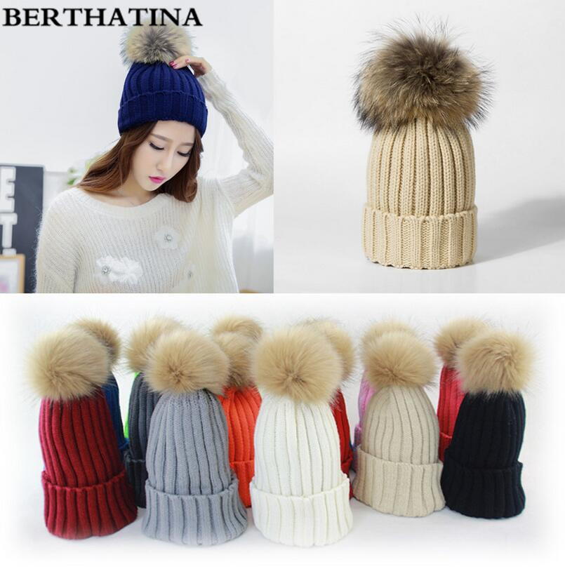 BERTHATINA Women Faux Rabbit Fur Hats Fashion Winter Beanies Female Knitted Warm Caps Brand Pompon Hat Crochet Casual Cap(China)