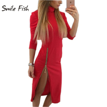2016 Autumn Winter Women Bodycon Dress Side Zippers Split Side Split Sexy Dress Turtleneck Midi Warm Dresses Vestidos GV324