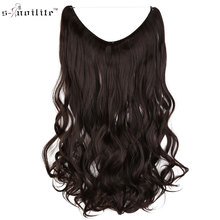 SNOILITE Long Synthetic Hair Heat Resistant Hairpiece Fish Line Women Curly Hair Extensions Brown Blonde Cosplay Extension(China)