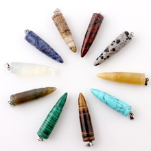 Assorted Natural stone Bullet Crystal point Pendant Pendulum Obsidian Opalite Chakra Healing Reiki Beads Free shipping