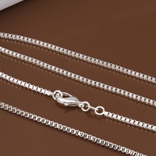 "925 Sterling Silver 2mm Box Chain 16""18"" 20"" 22"" 24"" Fashion Necklace Box Chain Necklace gift bag For Jewelry accessory"