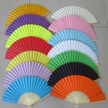 Hot Sell 17 Colors Summer Chinese Pure Color Hand Paper Fans Pocket Folding Bamboo Fan Wedding Party Favor(China)
