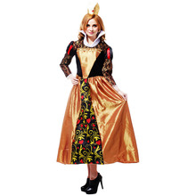 2018 new quality Long sleeve queen of hearts cosplay dress adult Alice In Wonderland queen of hearts costume halloween costumes(China)