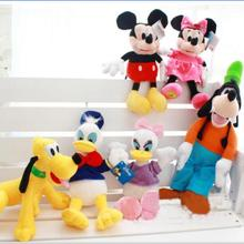 6pcs/set 28cm Mickey and Minnie Mouse,Donald duck and daisy,GOOFy dog,Pluto dog,Plush Toys Funny Toy For Kid Christmas Gift