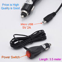 micro USB Car charger with Power Switch for GPS / Mobile SmartPhone / Car DVR Camera input 12V 24V ouput 5V 2A Cable Length 3.5m
