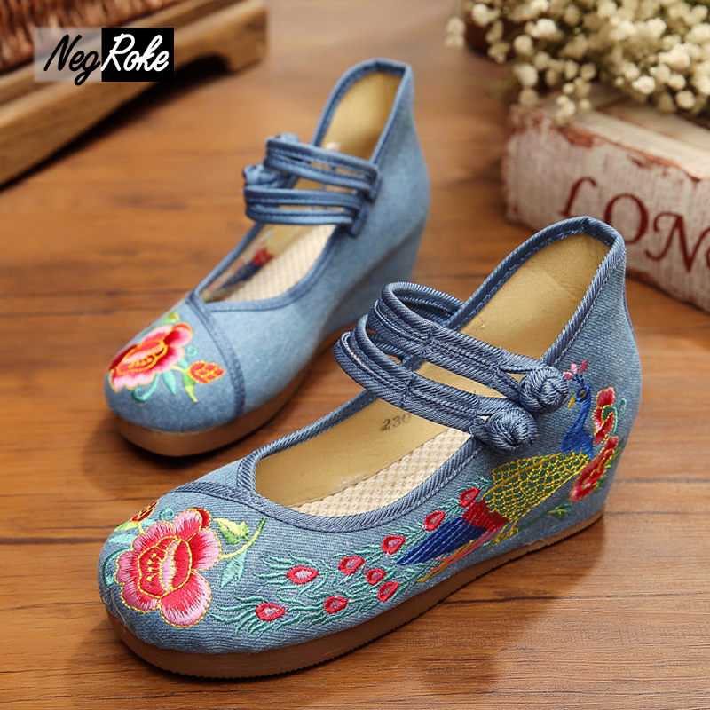 Fashion Chinese style 5cm red wedge heels shoes women embroidery tail peacock casual platform shoes women pumps escarpins femme<br><br>Aliexpress