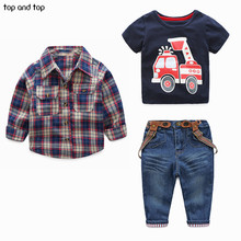 Children's Clothing Sets for Spring Baby Boy Suit Long Sleeve Plaid Shirts+car Printing T-shirt+jeans 3pcs Suit Set