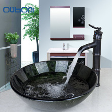 OUBONI Round Wash Basin Bathroom Sink Set Tempered Glass Bathroom Sink And Oil Rubbed Bronze Bathroom Faucet With Pop-up Drain