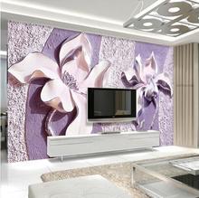 Custom Photo Wallpaper 3D Stereoscopic Flowers Living Room Sofa Backdrop Wall Murals Wall Paper Modern Home Decor Room Landscape