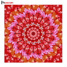 HUA CAN Diamond embroidery diy cross-stitch picture of rhinestones red flower garland diamond painting butterfly home decoration