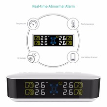 CACAGOO Wireless Real-time TPMS Tire Pressure Monitoring System with LCD Display Alarm Function 4 Internal Sensors Psi Bar Units