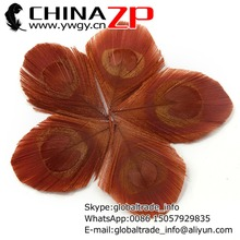 CHINAZP Factory 100pcs/lot Good Quality Dyed Brown Trimmed Peacock Feathers Eye for Earring Decorations(China)