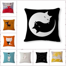 Creative cute cartoon cat  Cushion printed  linen Family affection Sofa Car Seat family Home Decorative Throw Pillow