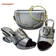 Silver Circle Bracelet bag with shoes High quality matching Italian shoes and bag set African high heel to match women dress