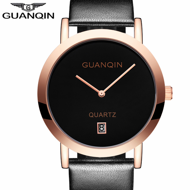 New Watches Lovers GUANQIN Brand Quartz Watch Women Round Leather Fashion Casual Men Wristwatches Female quartz waterproof Watch<br>