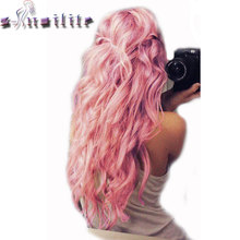 S-noilite 24 inches Curly Clip in Full Head Hair Extensions One Piece 5 Clips for human Cosplay Synthetic Hair Red Pink Purple(China)