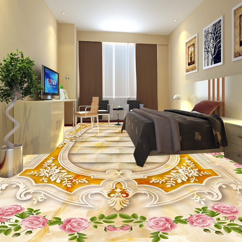 Free shipping custom 3d floor waterproof self-adhesive photo bathroom wallpaper mural Romantic rose European parquet flooring<br>