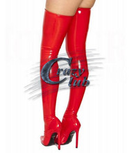 Buy Crazy club_Hot Latex Stockings Solid Knee socks Tights Latex Rubber Red Thigh High Long Stockings Fetish Women's Erotic Stocking