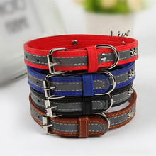Promotion Pet Products Dog Collar Leather Dog Collars With Reflective For Chihuahua Puppy Cats Small Large Animals
