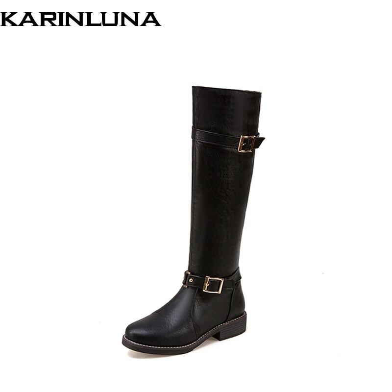 KARINLUNA Women Motorcycle Boots Fashion Buckle Belt Strap Rubber Sole Platform Autumn Winter Shoes Woman Knee Boots<br>