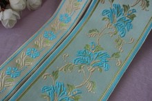 Mix 4yards/lots Woven Jacquard Ribbon 3.5cm-8cm blue color flowers leaves pattern LS-4286(China)