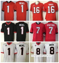 Georgia Bulldogs College Jerseys Black Red White 1 Sony Michel 11 Greyson Lambert 8 AJ Green 7 Matthew Stafford 11 Aaron Murray