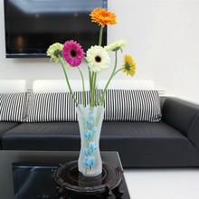 1PC Eco-friendly Foldable Folding Flower PVC Durable Vase Home Wedding Party Easy to Store New random color(China)