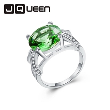1pc Green Rhinestone Silver Plated Ring Bijoux Trendy Hollow Round Size 6 7 8 9 10 11 12 13 New Retail