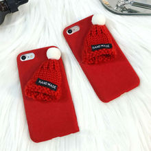 DIY Cute Red Hat Fuzzy Plush Winter Soft TPU Phone Back Cover Cases For iPhone 7 For iPhone 6 6S 7 Plus Mobile Phone Bags & Case