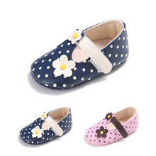 2017 spring New pu Leather Baby Moccasins Shoes polka dots mary janes Baby girls dress Shoes Newborn first walker Infant Shoes(China)