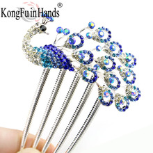 Hot Sale Fashion Women Girls Peacock Colorful Rhinestones Hairwear Jewellery Vintage Hairpin Hair Clip pin 2017 Christmas gift(China)