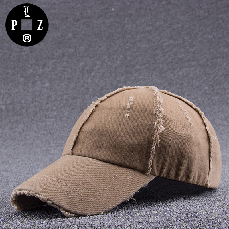 PLZ High Quality Washed Cotton Baseball Cap Dad Hat Fashion Reversal Design Ripped Trucker Hat Vintage Sun Hats For Men 55-59cm<br>