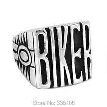 Vintage Engine BIKER Motorcycle Ring Stainless Steel Jewelry Classic Carve Words Motor Biker Men Boys Ring Wholesale SWR0441A(China)
