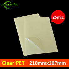 50sheets A4 Size 210mmx297mm Clear PET Sticker 25mic/50mic Printing Transparent Vinyl PET A4 Adhesive Sticker for Laser Printer(China)