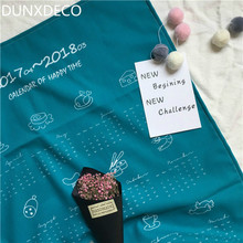 DUNXDECO Table Placemat Cotton Tea Towel Napkin Artistic Blue Peacock Color Calendar of Happy Time Print Hanging Fabric Decor
