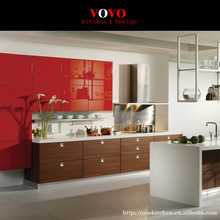 Integrated wood grain melamine kitchen cabinet with highg gloss red upper cabinet