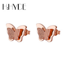 H:HYDE 3D Butterfly Earrings For Women Girls Rose Gold Color Frosted Double Butterfly Stud Earrings Best Jewelry Gift Jewelry