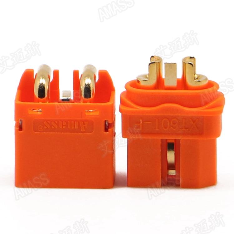 XT60IPW-M Socket DC supply XT60 male PIN 3 on PCBs THT Colour orange  AMASS