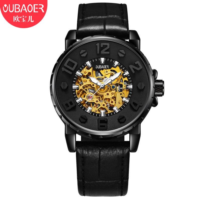 OUBAOER Luxury Mechanical Watches Men Skeleton Automatic Men Watch Leather Waterproof Clock Men Dropshipping Vintage Hodinky Men<br>
