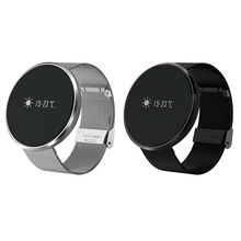 0.96' LED 256K+32K Blood Heart Rate SleepTracker Bluetooth 4.0 Touch Screen Steel Belt FOR iOS 8.0 Android 4.4 Steel Wristband