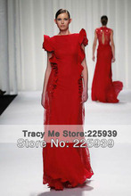 Designer Boat Neck Cap Sleeves Beauty Lace Silver Beads A Line Red Full Length Chiffon Formal Evening Dresses Gowns