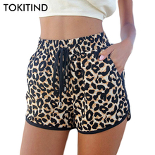 TOKITIND Women Board Shorts Leopard Board Shorts 2017 New Summer High Quality Swimwears Plus Size European and American Style