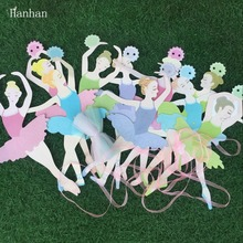 DIY pull flag decoration background Korean ballet girl dancing paper party 10 balletians patteren Dance paper pull flowers(China)