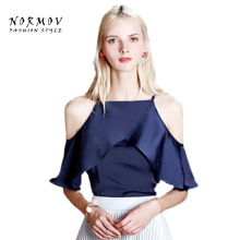 NORMOV Sweet Style Shirt Blouse Sexy Off Shoulder Women Tops White Navy Solid Color Loose Shirt Casual Summer Tops S-XXL