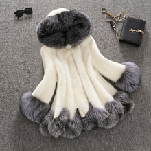 High Imitation Fur Coat Women Silver Fox Fur Collar Hooded Mink Fur Coat Medium-long Overcoat Plus Size S-4XL Winter Coat PC166