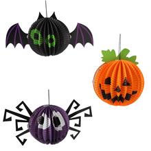 3 pcs /set halloween party hanging props suppliers spider shape bat pumpkin retractable cylinder paper lantern(China)